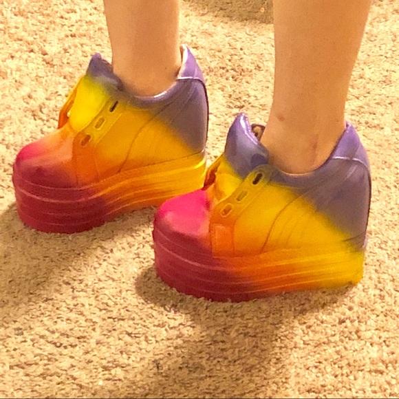 Rainbow platform boots Gogo rave festival yru. M 5b3435a8c9bf505658495bcf